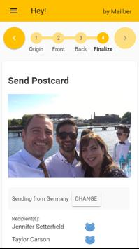 Hey! Send real photo postcards apk screenshot