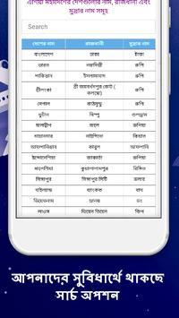 বিভিন্ন দেশের রাজধানী ও মুদ্রার নাম screenshot 1