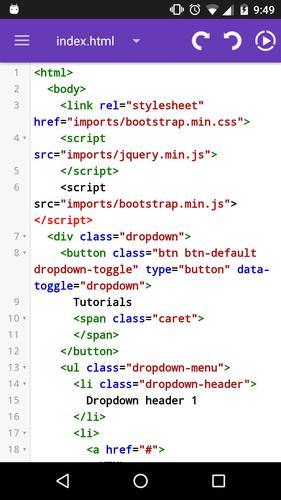 Editor de HTML,Bootstrap para Android - APK Baixar