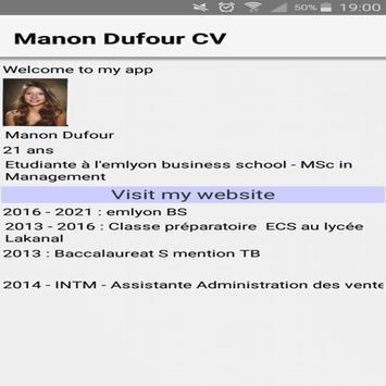 Manon Dufour CV for CODAPPS screenshot 1