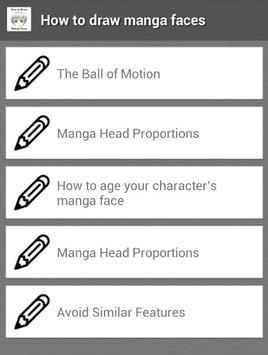 How to Draw Manga Faces apk screenshot