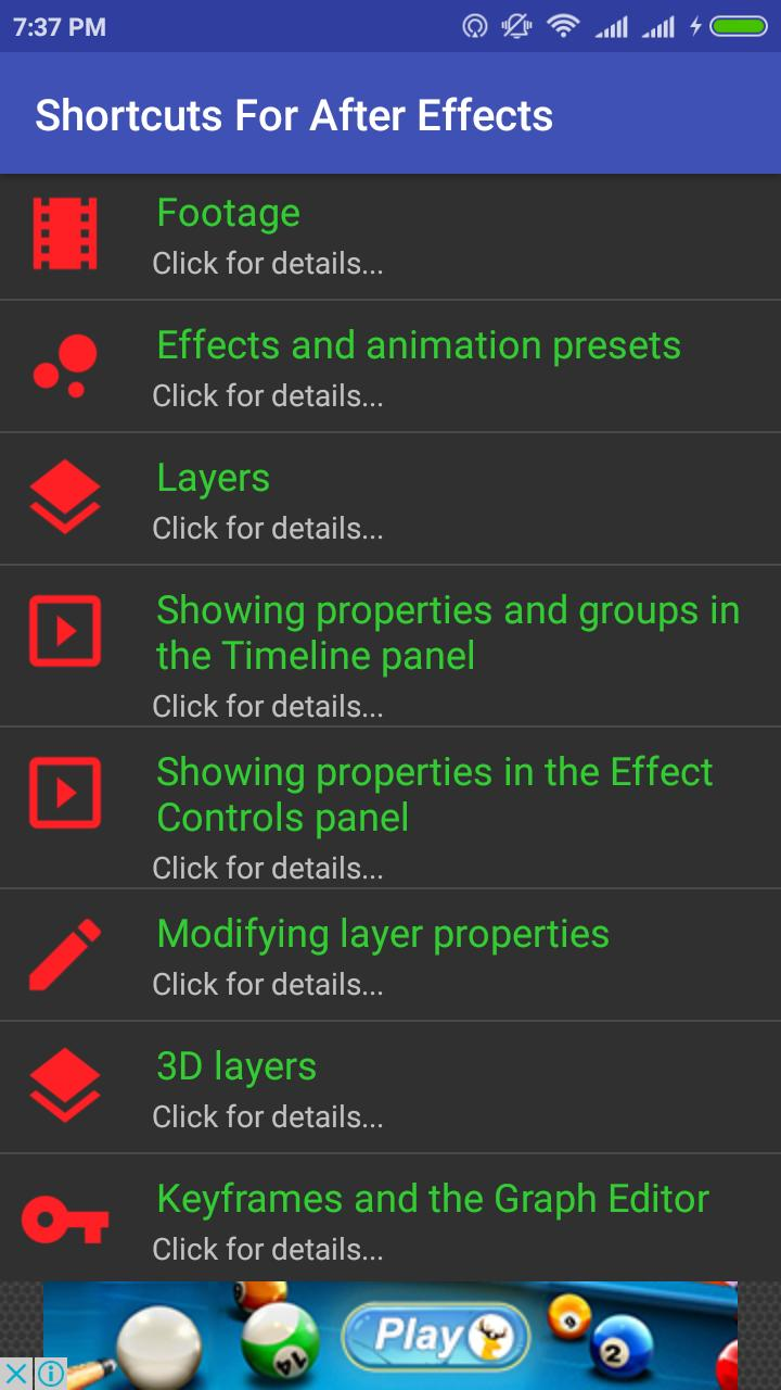 After Effects Shortcut Keys for Android - APK Download