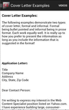 informal cover letter example