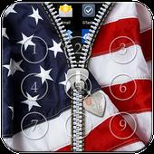 USA Flag Passcode Zipper Lock icon