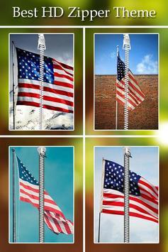 USA Flag Passcode Zipper Lock poster