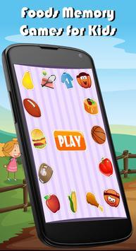 Foods Match Memory Games Kids poster
