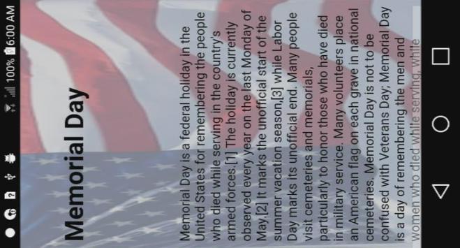 Memorial Day Information screenshot 1