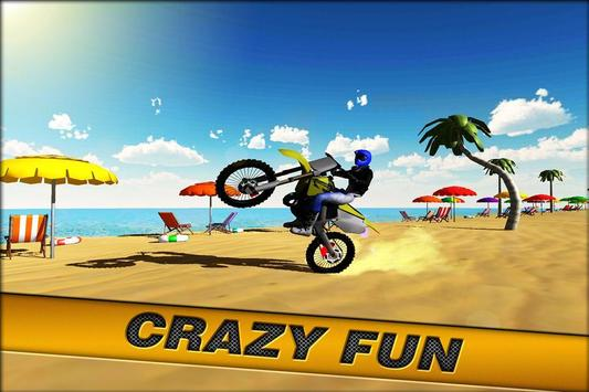 Crazy Beach Bike Stunts Sim 3D poster