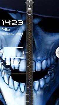 Blue Skull Zipper Screen Lock apk screenshot