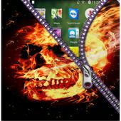 Fire Skull Zipper Screen Lock icon