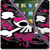 Pink Skull Zipper Screen Lock icon