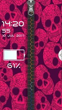 Pink Skull Zipper Screen Lock apk screenshot