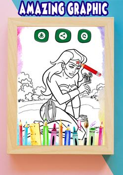 How to color Wonder Woman Adult Coloring Pages screenshot 4
