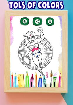 How to color Wonder Woman Adult Coloring Pages screenshot 6
