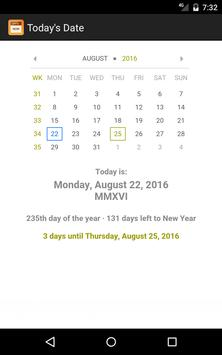 Today's Date apk screenshot