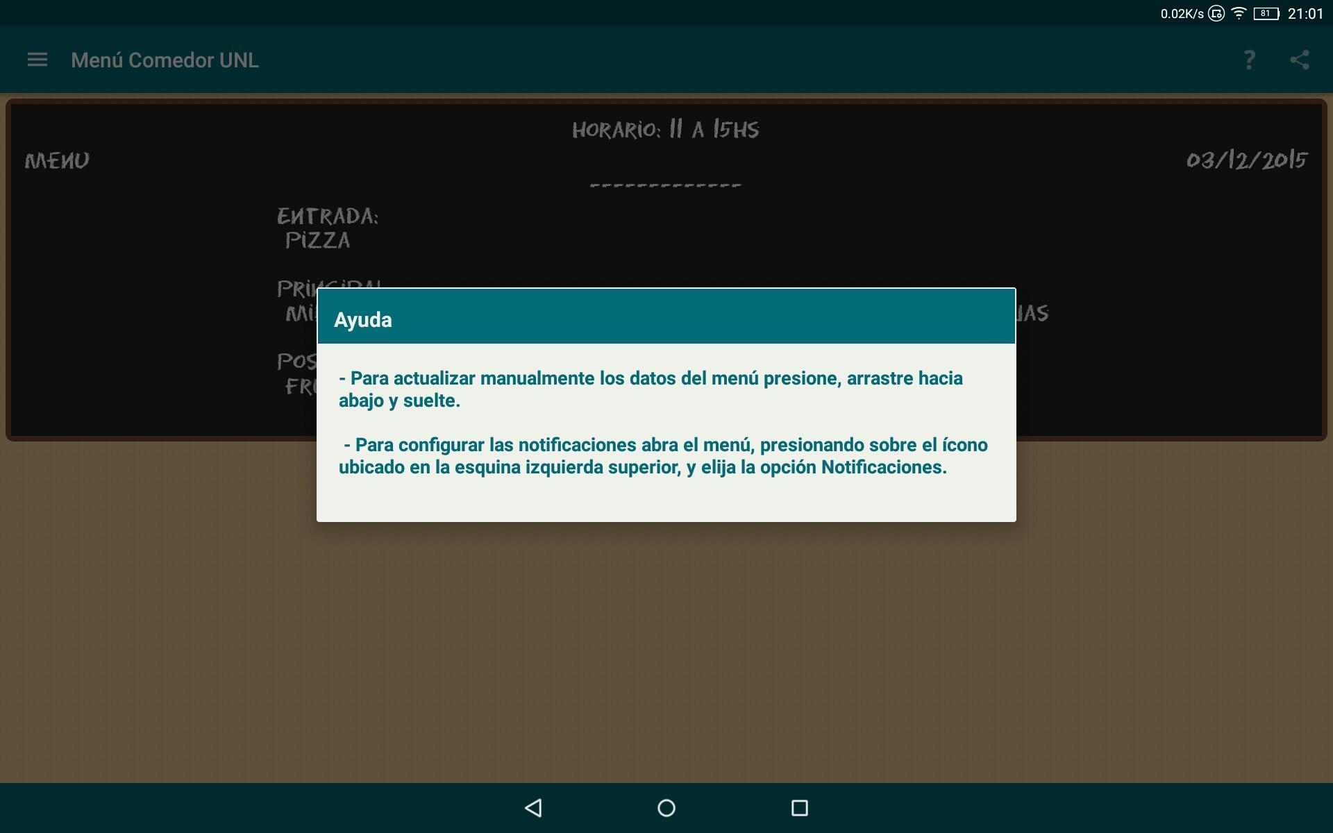 Menú Comedor Universitario UNL for Android - APK Download