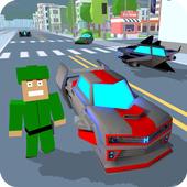 Blocky Hover Car: City Heroes icon