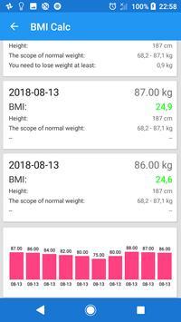 Free BMI Log & Calc screenshot 1