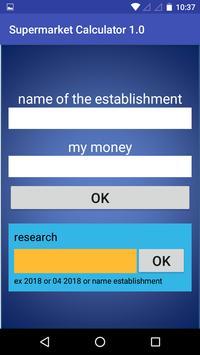 Supermarket Calculator 1.0 screenshot 1