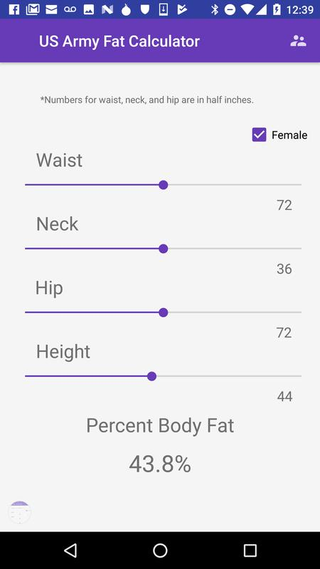 Us Army Body Fat Calculator Poster Screenshot 1