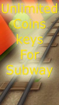 Unlimited Coins, keys subway poster