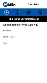 MillerWeld Setting Calculator apk screenshot