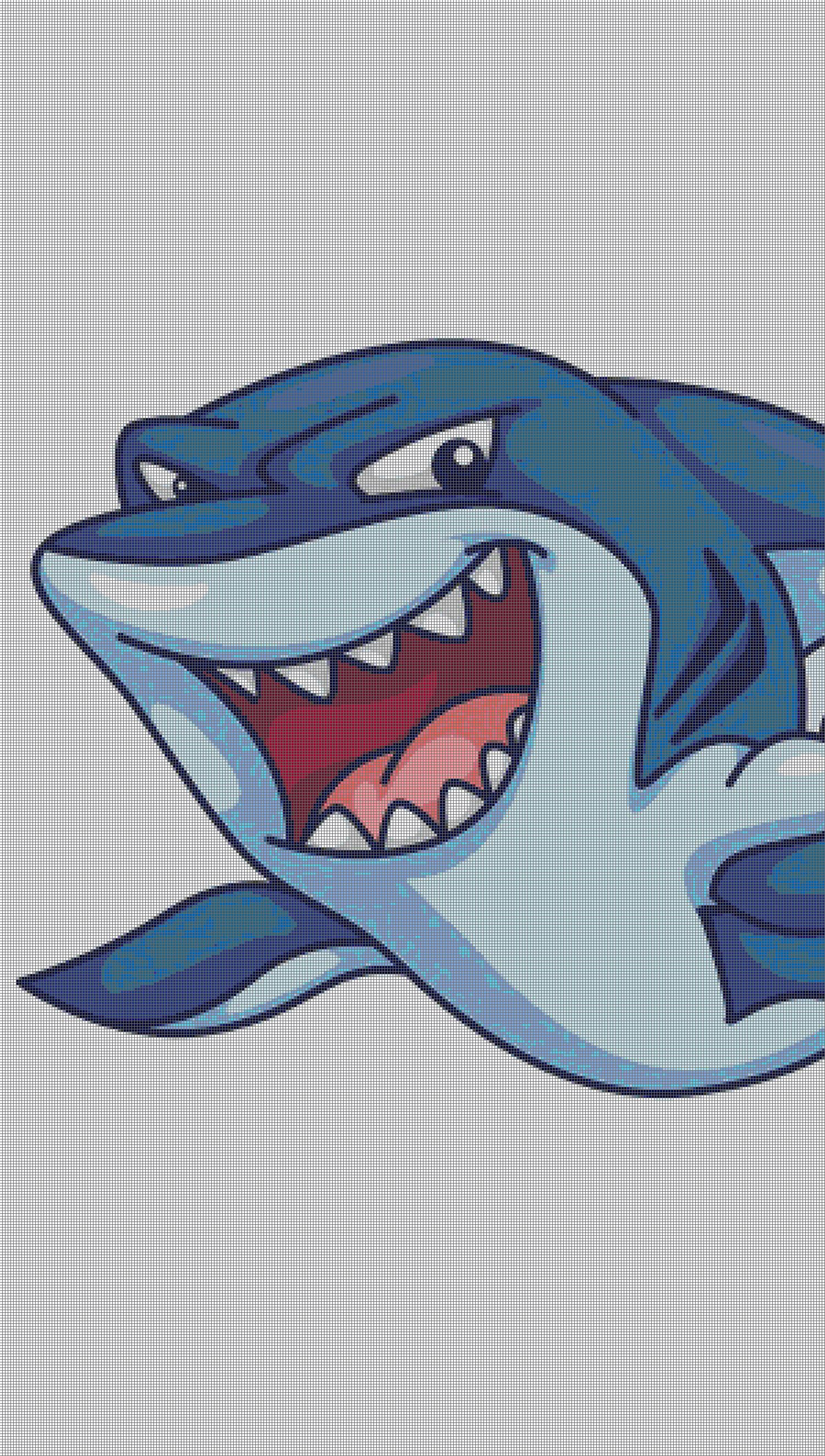 Angry Shark Color By Number Hungry Fish Pixel Art Für