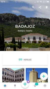 Badajoz Travel Guide in English with map poster