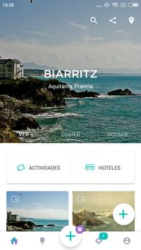Biarritz Travel Guide in English with map poster