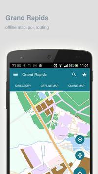 Grand Rapids Map offline poster