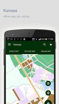 Kansas Map offline poster