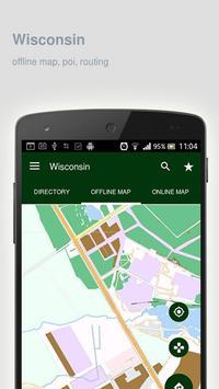 Wisconsin Map offline poster