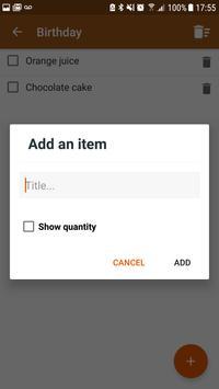 Shopping list screenshot 2