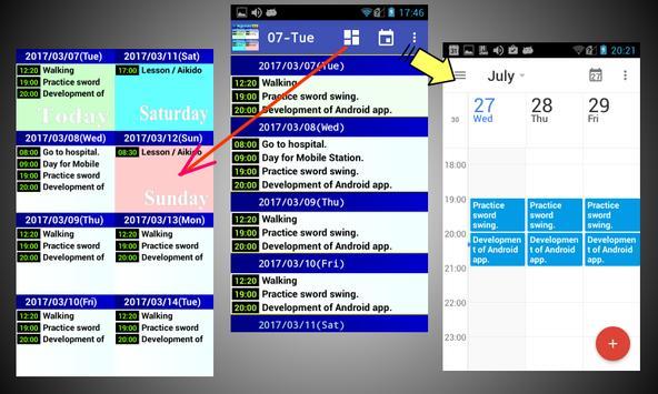 Simple 8 days schedule viewer. apk screenshot