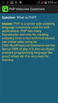 PHP Interview Questions apk screenshot