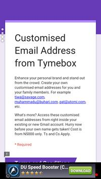 @myName Email from Tymebox apk screenshot