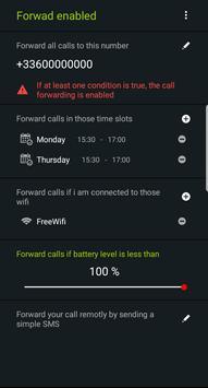 Smart Call Forwarding (schedule - battery - wifi) apk screenshot
