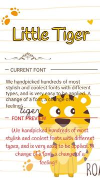 Little Tiger Font For FlipFont Cool Fonts Text Poster