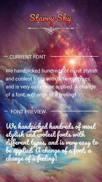 Starry Sky Font for FlipFont ,Cool Fonts Text Free poster