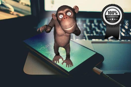 monkey on screen dancing joke poster