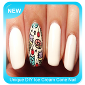 Unique DIY Ice Cream Cone Nail Art icon