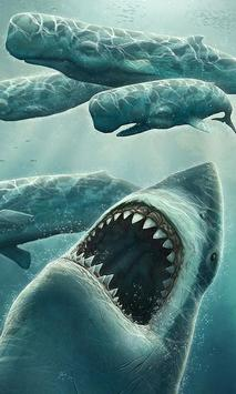 moving shark wallpaper poster