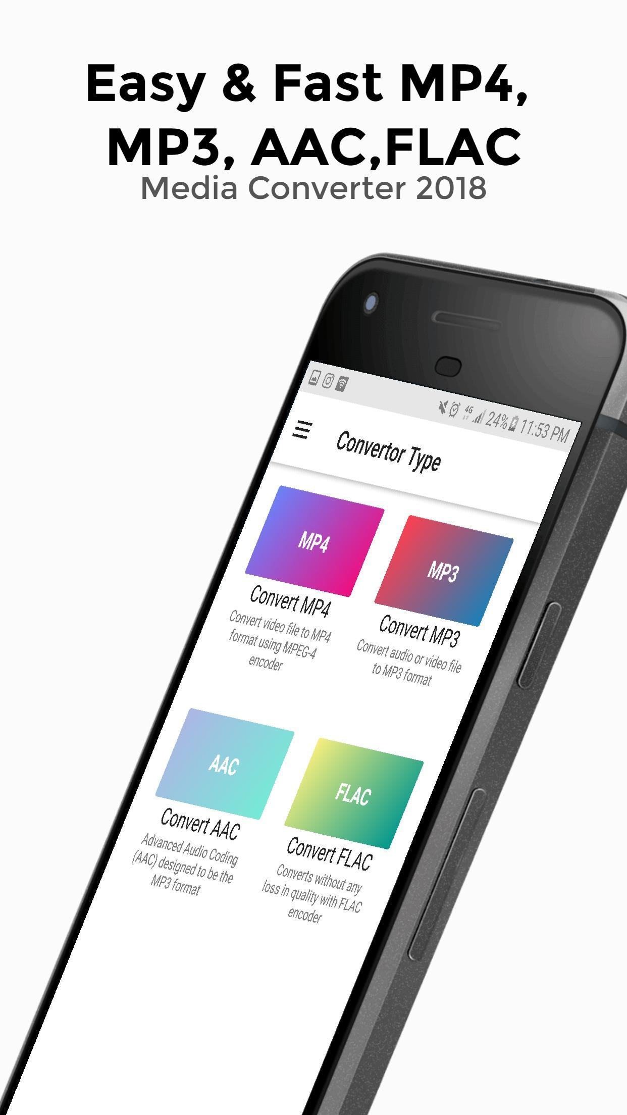 MP4, MP3 AAC, FLAC Media Converter 2018 Pro for Android
