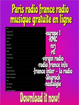 Paris radio france radio musique gratuite en ligne poster