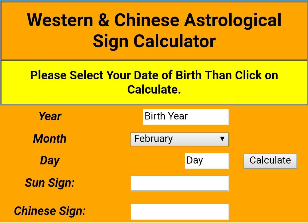 Zodiac Sign Calculator - Western and Chinese for Android