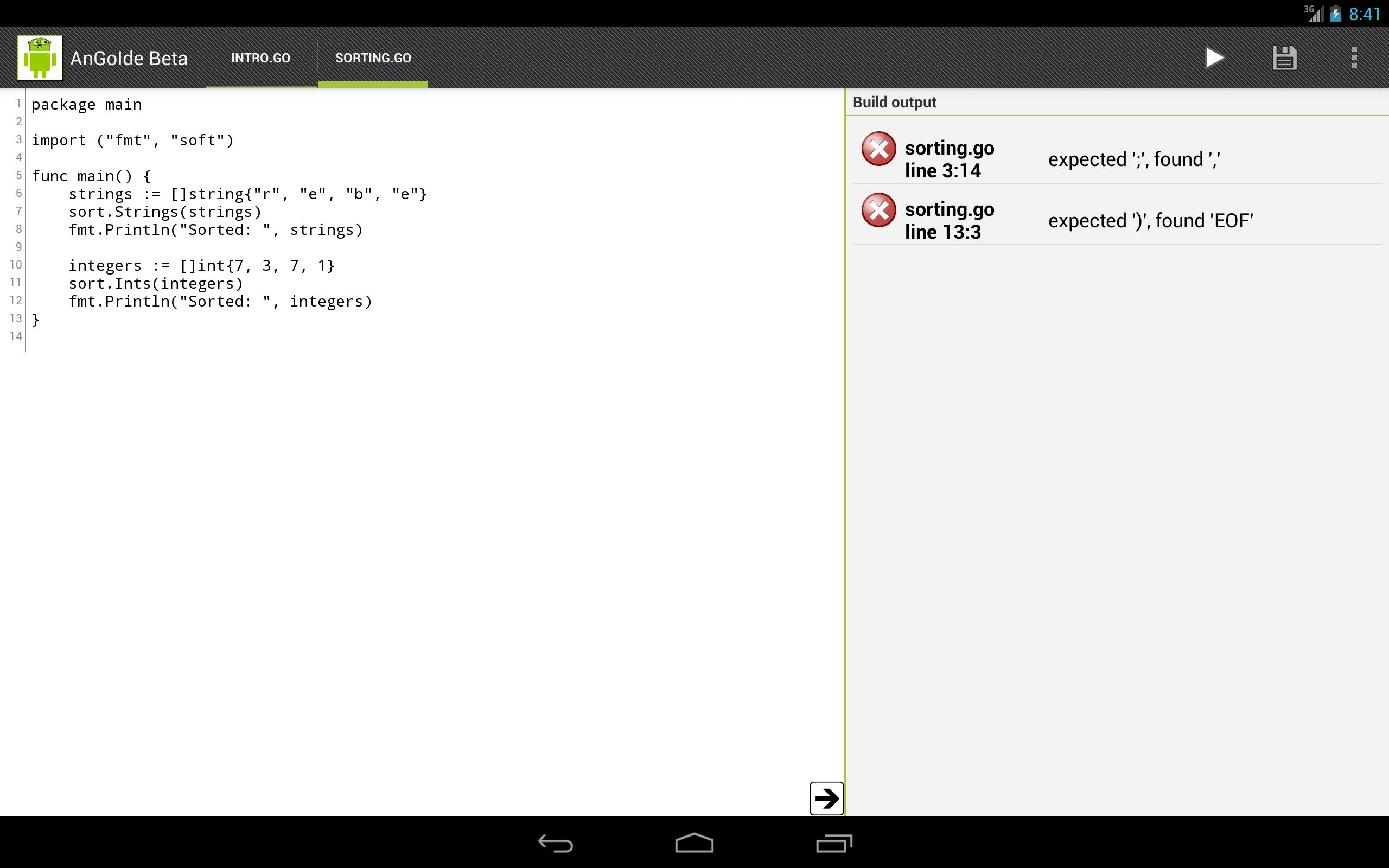 AnGoIde - Google Go/golang IDE for Android - APK Download