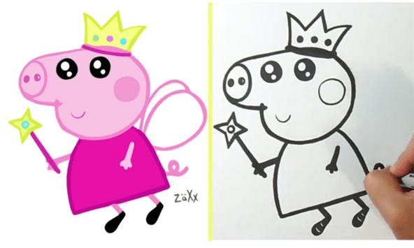 Своими, картинки свинки пеппы для срисовки