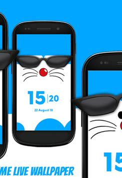 Daro kucing biru keren - tema jam live wallpaper screenshot 2