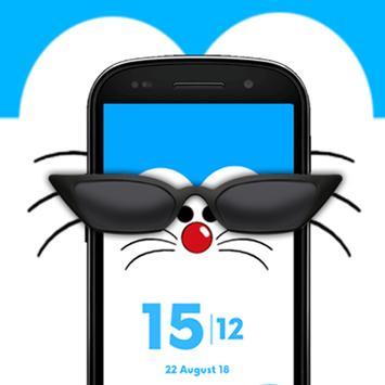 Daro kucing biru keren - tema jam live wallpaper screenshot 3