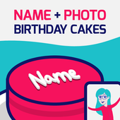 Birthday Cake With Name And Photo 🎂 icon